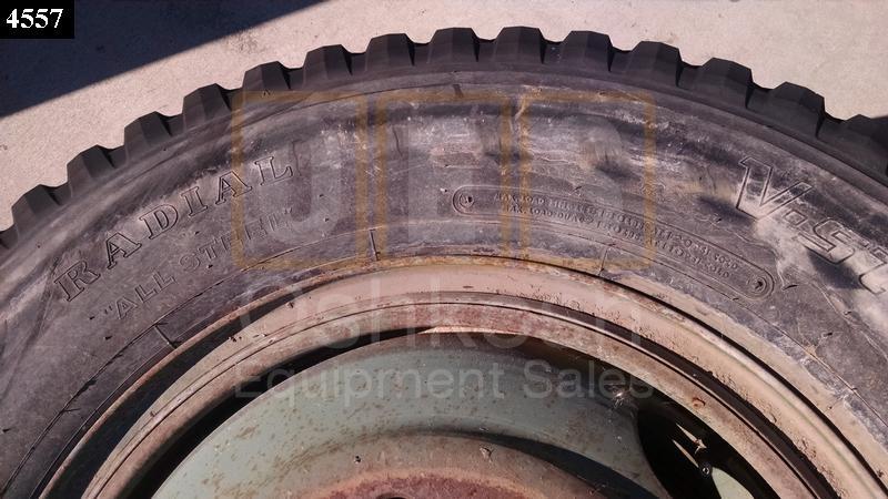 11.00R24 Bridgestone V-Steel MIX 757 Tire on Wheel - Used Serviceable