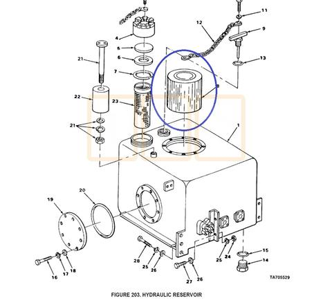 hydraulic reservoir filter element